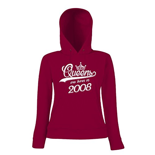 Queens are born in 2008 Premiumhoody | Geburtstags-Hoody | Jahrgang | 9. Geburtstag | Frauen | Kapuzenpullover Dunkelrot