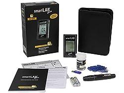 smartLAB genie Blutzuckermessgerät set mit 10 Teststreifen und 10 Lanzetten | Messgeräte mit großem Display