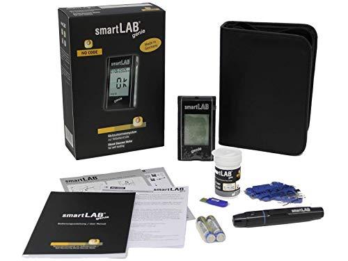smartLAB genie Misuratore glicemia per il diabete | con 10 strisce glicemia per la raccolta del sangue | glucometro con pungidito | prova pressione