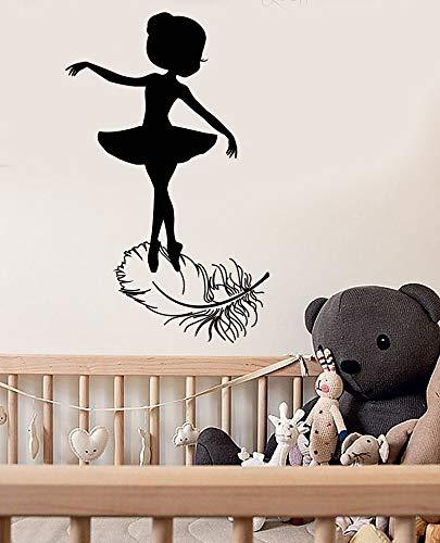 kleines mädchen ballerina ballett studio vogelfeder aufkleber mädchen kind tanz wandaufkleber dekoration 57 * 93 cm ()