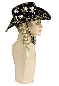 Amscan-250078-Sombrero cowboy con de calaveras métallisées accesorio de disfraz