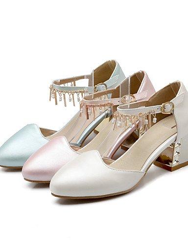 WSS 2016 Chaussures Femme-Bureau & Travail / Décontracté-Bleu / Rose / Blanc-Gros Talon-Confort / Bout Arrondi-Talons-Polyuréthane white-us8 / eu39 / uk6 / cn39