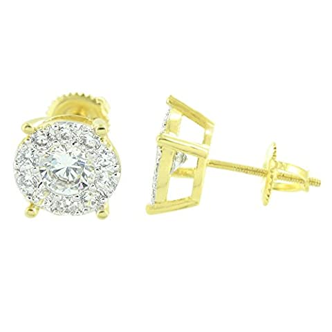 Solitaire Round Earrings Studs Gold Finish Cluster Set Simulated Diamonds New by Master Of Bling