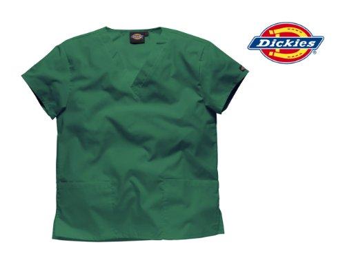 DICKIES WORKWEAR Schlupfhemd Medizin 2 Taschen mit V-Ausschnitt Flaschengrün