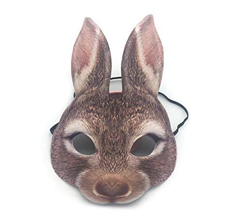 QIONGQIONG Halloween Latex Kaninchen Realistische Maske Tiermaske Kostüm Spielzeug Cosplay Terror-Party