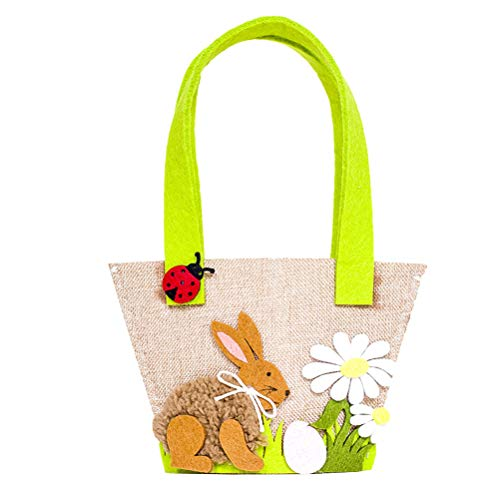 Amosfun Vintage Easter Bunny Bag Kaninchen Ohren Korb Kinder Osterei Hunts Party Bag Tote Bag