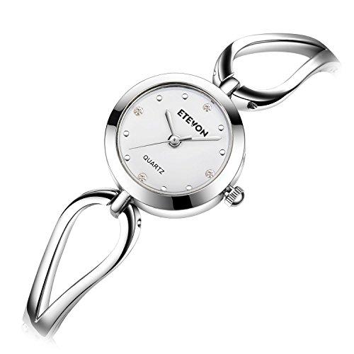 ETEVON Frauen Quarz Silber Armbanduhr mit Kleine Crystal Zifferblatt und Hohlen Armband Wasserdicht Lässig Einfache Verkleiden Armbanduhren für Damen - 4