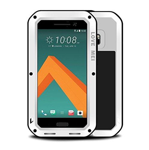 HTC 10Fall, mangix Love MEI Gorilla Glas Innen Luxus Aluminium Schutzhülle aus Metall Silica Gel Military Bumper Heavy Duty Cover Shell Case für HTC 10(2016Release), Weiß Silica Gel Case