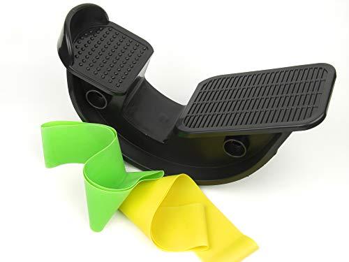 Stretched Achillessehnen-Kälberfuß-Trage und Wippe zur Schmerzlinderung Beweglichkeit angespannter Beinmuskel, schwarz, 2 Widerstandsbänder enthalten.