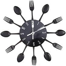 WINOMO creativa reloj de pared timelike moderno de cubierto cocina cuchara tenedor reloj de pared espejo