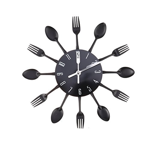 WINOMO Montre de mur créatif timelike couverts modernes Cuillère de cuisine Fourchette Horloge murale miroir autocollant de la mural pour la décoration du foyer (Noir)
