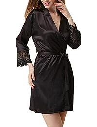 Horbous 1 pieza más mujeres del tamaño de la bata de seda del traje largo de satén robe 3/4 manga del vestido del pijama…