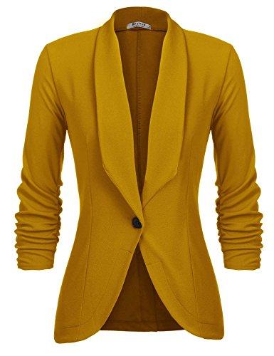 L'AMORE Damen Blazer Tailliert Kurz Elegante Langarm Slim Business Büro Jäckchen Anzug Casual Kurzblazer Mantel Jacke Oberteil- Gr. Small, Gelb