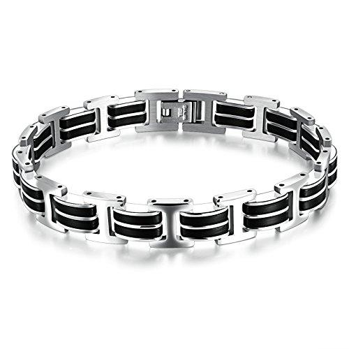 Beydodo Edelstahl Charm Armbänder für Herren Armband Punk Rock Schwarz 21x1CM