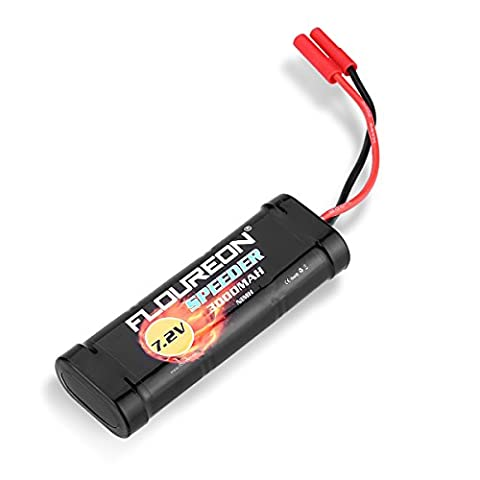 FLOUREON® 7.2V 2S 3000mAh Ni-MH Rechargeable Battery Pack with HXT 4mm Plug for Standard Racing RC Cars Redcat Blackout Lightning Short Course Truck XTE PRO Monster Truck Drift Touring Car Traxxas LOSI Associated HPI Kyosho -