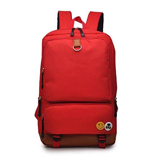 F@sacchetto di spalla di modo di college femminile vento studenti coreani tela borsa, zaino del computer , black Red