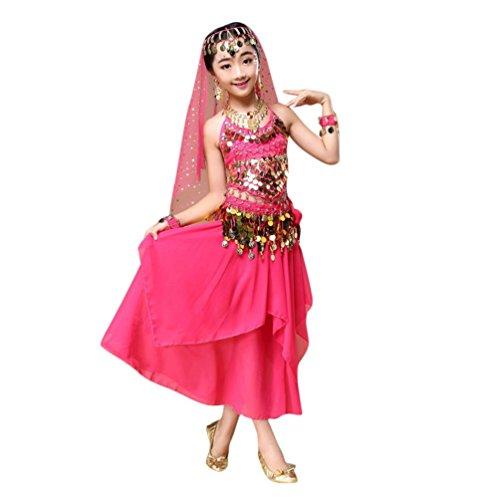 Kostüme Dance Hot (Hunpta Kinder Mädchen Bauchtanz Outfit Kostüm Indien Dance Kleidung Top + Rock (136~150cm, Hot)