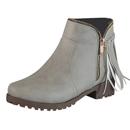 Kurze Ferse Kleid Schuhe (Comfort Lady Kleid Sandale Fashion Retro Damen Quaste Low-Heele Zipper Rutschfeste römische Schuhe Kurze Stiefel)