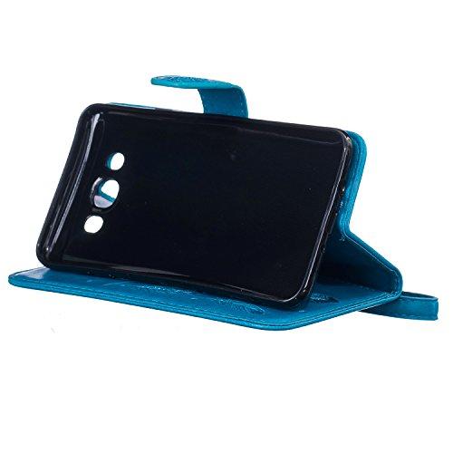 Etui Samsung J5 , Anfire Attrape Reve et Feuille Motif Peint Mode PU Cuir Étui Coque pour Samsung Galaxy J5 (2015) SM - J500FN (5.0 pouces) Housse de Protection Luxe Style Livre Pochette Étui Folio Ra Bleu