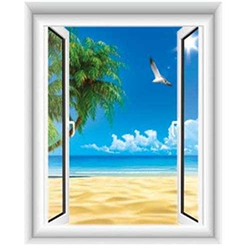 MYLOOO 3D Gefälschte Fenster Meerblick Wandaufkleber Strand Palme Blauen Himmel Seemöwen Wandbild Hauptdekoration Vinyl Tapete 90X110Cm