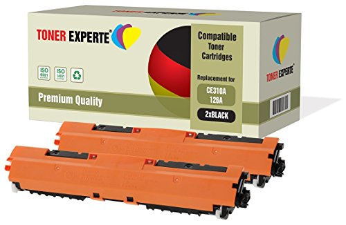 Pack de 2 TONER EXPERTE® Compatibles CE310A 126A Negro Cartuchos de Tóner Láser para HP Colour Laserjet CP1025 CP1025nw CP1020 M175a M175nw Pro 100 M175 MFP M175a M175nw M275 TopShot M275