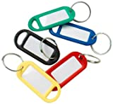 Merriway™ BH01822 Bulk Hardware Assorted Coloured Key Ring Tags with Labels - Assorted Colours, Pack of 48