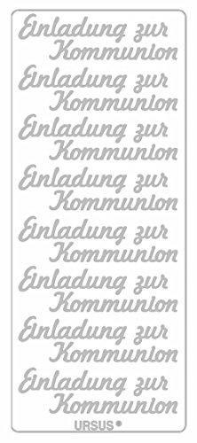 Ursus 59310084 - Kreativ Sticker, Einladung zur Kommunion, 5 Blatt, silber