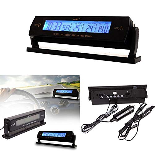Milnnare Auto Auto Temperatur Spannung Uhr Digital LCD Thermometer Meter Monitor Alarm - Schwarz