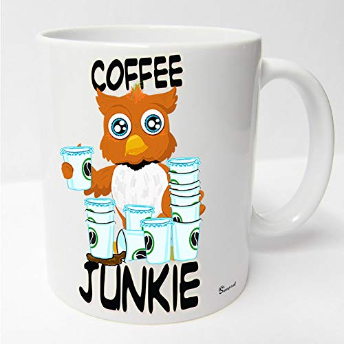 Sunnywall Auswahl Tasse Sunny die Eule owl Mug Spruch Motive Fun Geschenk Keramik, Original Geschenkidee (75-Weiss-blau Coffee Kaffee Junkie) (Tasse Blaue Eule Kaffee)