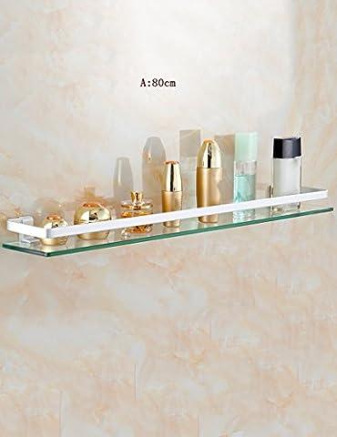 XIAOLIN-- Racks Espace d'aluminium Salle de bains étagère en verre Vanity cosmétiques avions Salle de bains cadre miroir avant Support de rangement --Étagères de salle de bains ( Couleur : A-80CM )