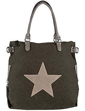 OBC ital-design Stern Tasche Handtasche Leder Damentasche Canvas Baumwolle CrossOver Schultertasche Sportliche...