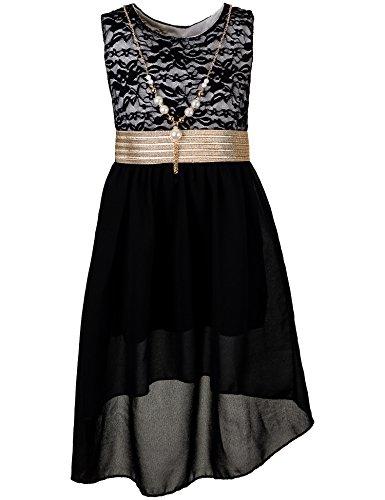 Unbekannt Kinder Sommer Fest Kleid für Mädchen Sommerkleid Festkleid mit Kette in vielen Farben M288sw Schwarz Gr. 10/128 / 134