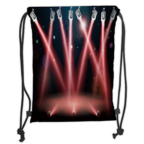 Trsdshorts Drawstring Backpacks Bags,Musical Theatre Home Decor,Concert Performance Stage Image Disco Party Entertainment,Grey Red Black Soft Satin,5 Liter Capacity,Adjustable String Closure,
