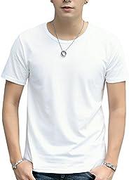 Cloudstyle Men's Short T-Shirt Round-Neck Casual Slim Fit Short T-S
