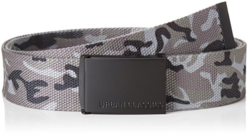 Urban Classics Unisex Gürtel Canvas, Mehrfarbig (Grey Camo/Black 01295), One size