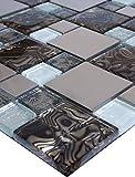 Mosaikmuster Glasmosaik Mosaikfliesen Glas Edelstahl Braun Silber Weiß 15x15cm 8mm Neu