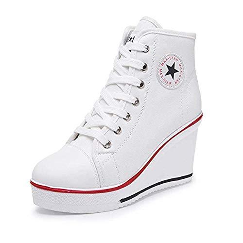 80ba415e2792 XPJY Baskets Mode Compensées Montante Sneakers Tennis Chaussures de Sport  Chaussures en Toile Femme (38
