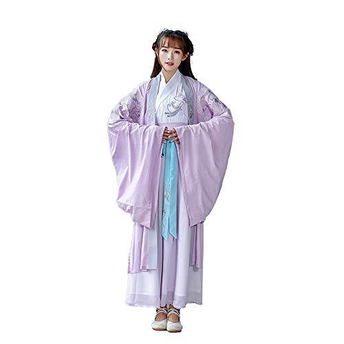 stüm der Frauen, traditionelles altes Besticktes Hanfu Tang-Anzug, traditionelle Vintage Langarm-Cosplay-Aufführungen tragen Kleid, Halloween Weihnachten,L ()