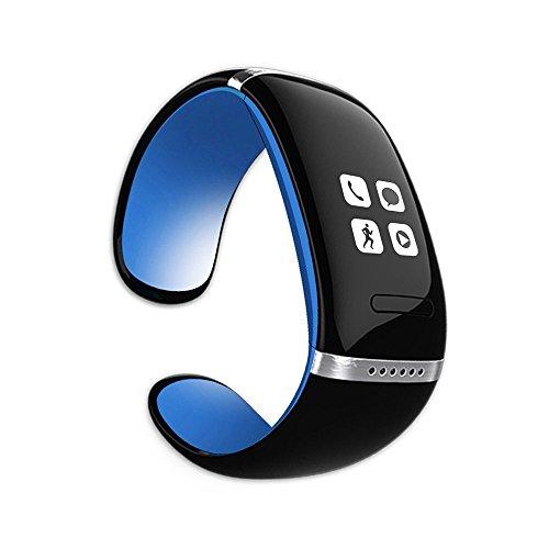 CursOnline® Bluetooth-Armbanduhr mit Freisprechanlage und MP3, neues Slim-Modell mit Verzeichnis-Synchronisation, Schrittzähler, Schrittmesser und Kalorienanzeige mit Mod OLED-Display, L12S Original