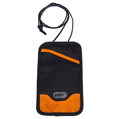 Portadocumentos de cuello, GOX Premium 420D Nylon Bolsa de Viajero para Documentos con Nudo de Seguridad Antirobo / Cartera colgante / Bolsa de viaje (Larga, Naranja)