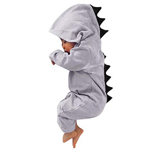 erthome Kleinkind Baby Mädchen Jungen Dinosaurier Hoodie Strampler Zip Kleidung Overall (3-6 Monate, Grau) 5 Zip Hoodie