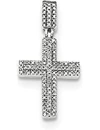 ICE CARATS 14k White Gold Diamond Cross Religious Pendant Charm Necklace Fine Jewelry Gift Valentine Day Set For Women Heart