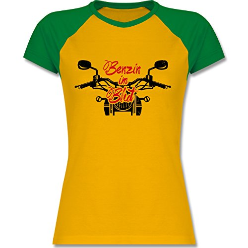 Motorräder - Benzin im Blut - Motorrad - M - Gelb/Grün - L195 - zweifarbiges Baseballshirt / Raglan T-Shirt für Damen (Raglan-motorrad)