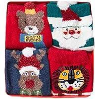 WEIMEITE Otoño Invierno Nuevos Niños Calcetines 4 Pares Caja de Regalo de Navidad Algodón de Dibujos