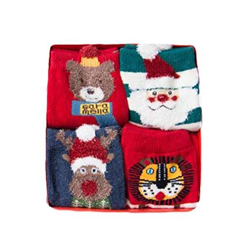 Magicfun Calcetines de Navidad Lindo de algod/ón Animal de Dibujos Animados Reno de Santa Claus Antideslizante Unisex 8 Pares Calcetines de Navidad Regalos para ni/ño ni/ña