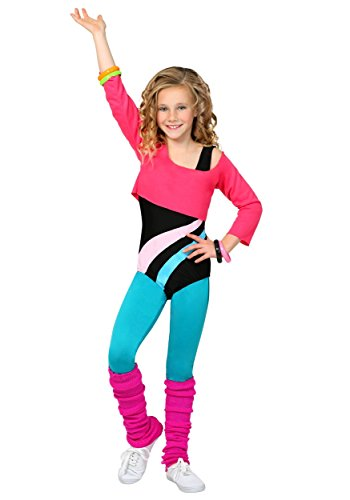 Child 80's Workout Girl Costume in 3 Sizes.