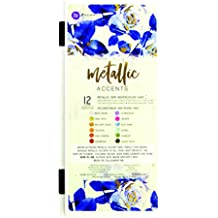 Prima Marketing Metallic Accents Semi-Watercolor Paint Set-12 Cakes & Brush