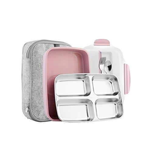 Dünnes, quadratisches Edelstahl-Brotdosen-Set–isoliert und undurchlässig - für Erwachsene und Kinder - ungiftig und geschmacksneutral - mit Isoliertasche und Besteck–spülmaschinenfest und mikrowellengeeignet - Erwachsenen-lunch-box Rosa