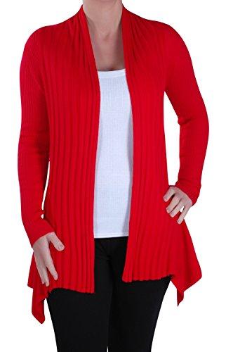 Eye Catch - Denver Mesdames Ouvrir De Face Tricoté Drapée Chute D'Eau Gillet Aux Femmes Crocheter Cardigan Taille Unique Rouge