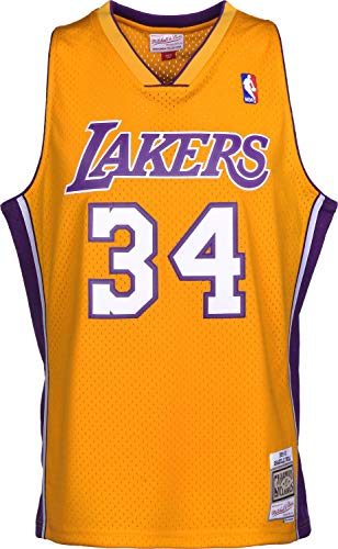 new concept 2c737 cb2f3 Mitchell   Ness Shaquille O Neal 1999 Los Angeles Lakers Home Replica  Swingman NBA Jersey HWC